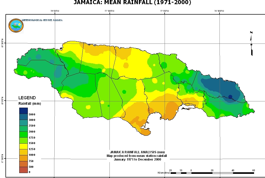 Jamaica rainfall distribution map.