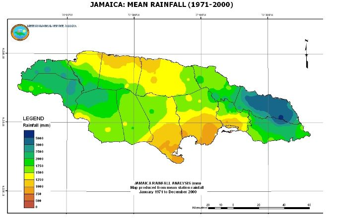 Jamaica Climate Map